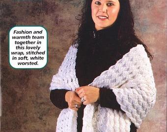 Crochet  White Shawl Wrap Pattern, Crochet Stole Pattern, Crochet Wrap Pattern, Digital Download