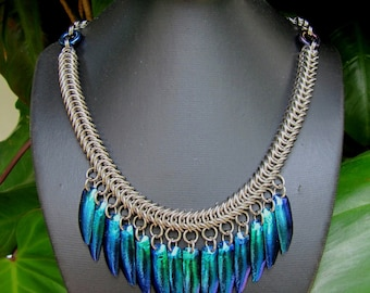 Chainmaille Necklace with Blue Beetle Wings