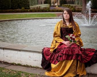 Deep Burgundy and Gold Costume, Themed Wedding, Wedding Dress, Steampunk, Victorain, Renaissance, Halloween, Pirate, Costume