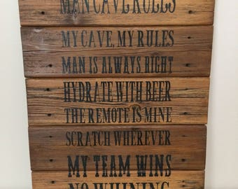 Man Cave Rules : Items similar to man cave rules on etsy