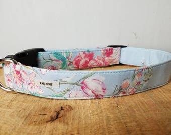 "Blue  Floral Dog Collar - Floral Dog  Collar - Vintage Inspired Dog Collar - Girl Dog  Collar - Summer Dog Collar ""The Madeline"""