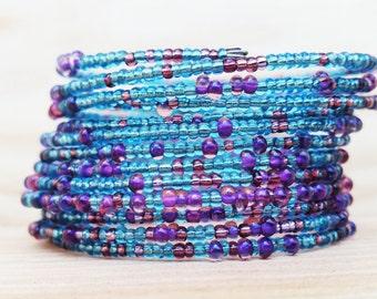 Purple and Blue Bangle Cuff  Memory wire bracelet / Coil bracelet / beaded bracelet / wrap bracelet / stacking bracelet / Slinky Bracelet