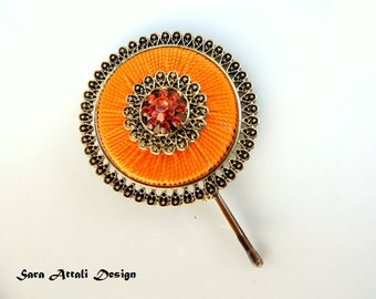 Original Hair Pin,bridal hairpin Bronze Hair Clip,Orange hairpin, Vintage Pin  Bobby Pins,Vintage Hair Clipstyle,Wedding Bridal Hair Clip