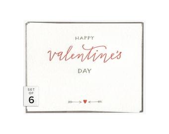 Happy Valentine's Day letterpress card - set of six