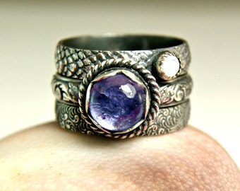Tanzanite Stacking Ring, Sterling Silver Natural Gemstone Ring, Mother of Pearl Jewelry, Blue Stone Ring