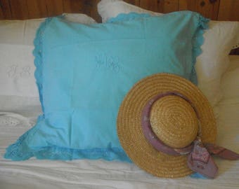 Antique monogrammed pillowcase dyed turquoise