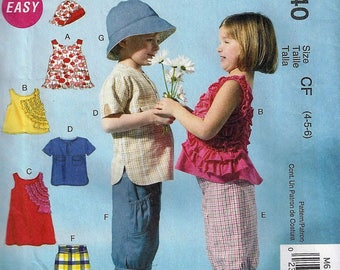 McCall's Patterns M6540 Children's Tops, Dress, Shorts and Hat, Size 4-6   Uncut Factory Folded