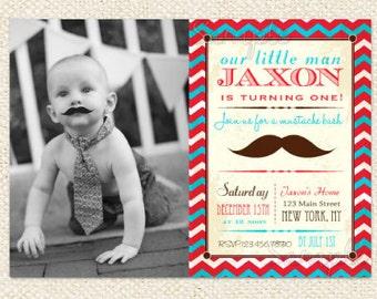 Mustache Little Man Birthday Invitations - Mustache bash - DIY printable - first birthday
