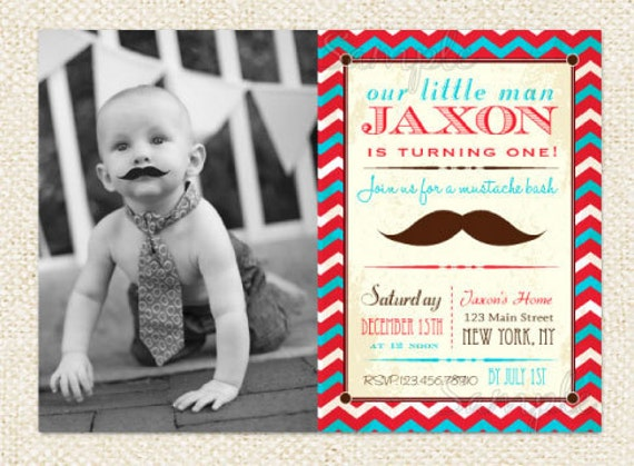 Mustache Little Man Birthday Invitations Mustache bash DIY