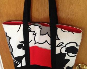 Tote or Market Bag in Canvas and Cotton with Pockets