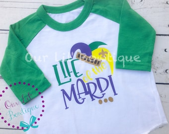 READY TO SHIP - Mardi Gras Shirt - Life of the Mardi - Raglan - Mardi Gras Raglan - Kids Mardi Gras Shirt - Beads -Glitter size 2/3t