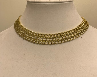 Gold three layer chain necklace with long chain drop in the back, gold chain necklace, gold necklace, gold jewelry