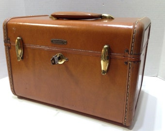 Vintage Samsonite Luggage Model 4612 Train Case Makeup Case With Mirror, Working Key, And Tray