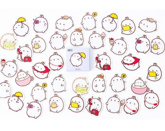 Bunny Stickers - Rabbit Stickers - Kawaii Stickers - Die Cut Stickers - Cute Sticker - Planner Stickers, Set of 45