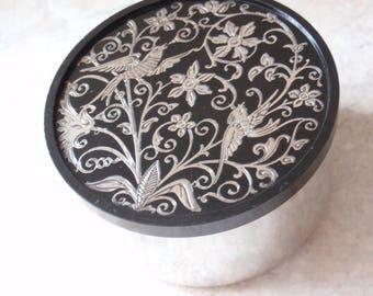 Vanity Trinket Box Oneida Sterling Bakelite Jar Birds Vintage V0807