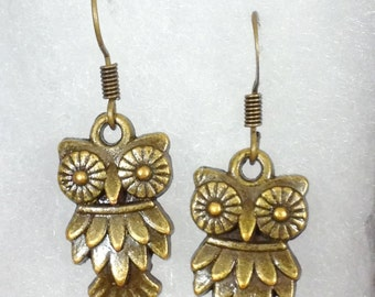 Small antiqued bronze Owl earrings