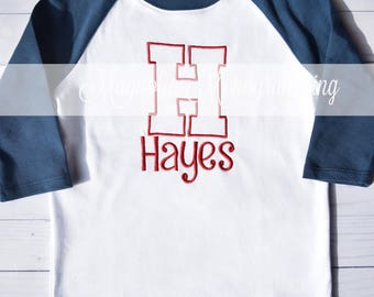 Boys Initial Raglan Shirt