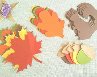 Squirrel die cuts, Leaf die cuts.Thanksgiving decor,squirrel cut outs,Winter wedding decor,Maple die cuts,Large leaf cut outs,Acorn die cuts