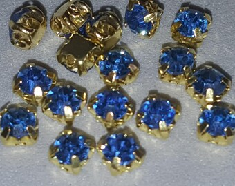 50 perles strass résine bleu océan et or 4 mm