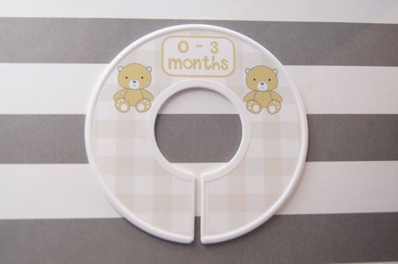 Baby Closet Dividers Tan Buffalo Checks Tan Bear Baby Shower