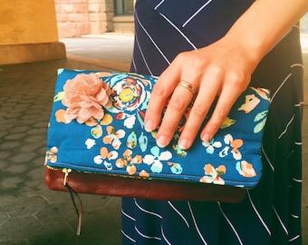 Swifting Blue Floral Leather Clutch, Women's Clutch Bag, Evening Bag, Fold-Over Clutch Purse