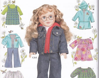 "FREE US SHIP Simplicity 7083 18""Doll Clothes Wardrobe New Sewing Pattern Fits American Girl Out of Print Elaine Heigl Nordstrom Designs ff"