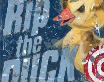 Lacrosse art- Rip the Duck - Vintage style sports wall art by Aaron Christensen.  A perfect piece for Lacrosse Fans and Players.