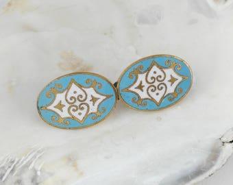 Pale Blue Enamel Brooch - Mother's Day Gift  - Gift for Women - Small Cloisonne Brooch - Edwardian Brooch - Pretty Enamel Brooch