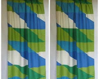 Rare vintage 60s Vera Neumann set of draperies, Burlington House designed by Vera, mod draperies, 60s draperies, 60s blue green curtains