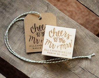 Cheers to the Mr. and Mrs. Rubber Stamp, With or WIthout Personalized Name. Wedding Name and Date Stamp.