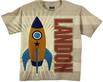 Boys Rocket Shirt, Personalized Birthday T-Shirt Top