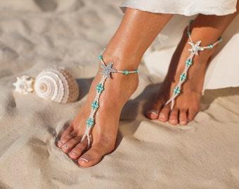 Maldives Beach wedding barefoot sandals Bridal foot jewelry Starfish barefoot sandals Bridal shoes Footless sandals Something Blue Anklet