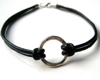 Mens leather bracelet and silver hammered 950 N2979