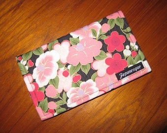 Checkbook Cover Japanese Asian Floral Fabric Design Camellias and Plum Ume Blossoms