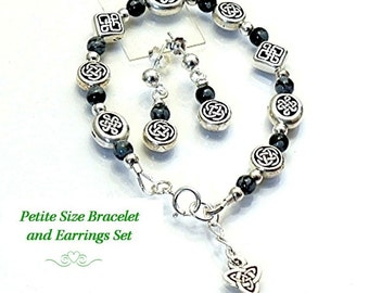 Celtic Bracelet and Earrings, Small Size Jewelry,  Children's Jewelry Sets, Snowflake Obsidian - B2012-02