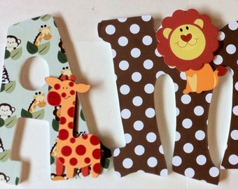 wood wall letters, baby nursery letters, animal theme letters, hanging wall letters, baby shower gift, boys name letters, decorative letters