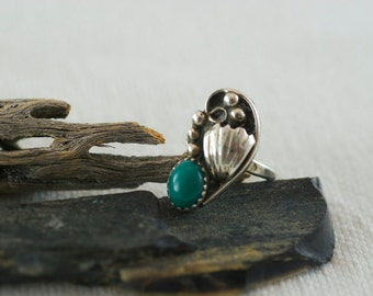 Vintage Native American Southwestern Sterling Silver Green Jasper Ring  US 5.75  .....6039