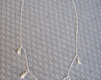 """Tear Drops in High Polish Sterling Silver 18"""" Necklace"""