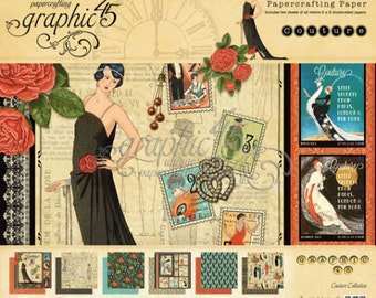 COUTURE by GRAPHiC 45 - CARDSTOCK Set of 13 Pages PlUS STICKERs Sheet Free !!  -  RARE and Retired