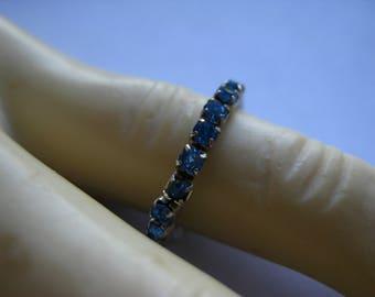 Blue Rhinestone Expandable Ring