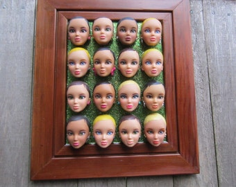 Upcycled framed Doll Assembage- Liv Laugh Love