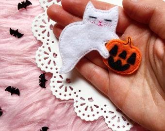 Ghost Kitty with Jack-o'-lantern Felt Brooch