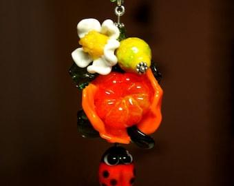 Lampwork fruit pendant, glass pendant, lampwork fruit, mandarin pendant, lampwork necklace., glass necklace, artisan glass