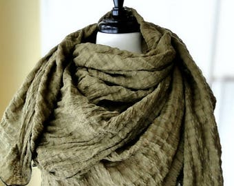 Olive linen blend scarf - extra large olive shawl wrap