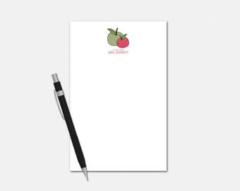 Personalized Notepads - Polka Dot Apple Teacher Stationery - Apple Gifts for Teachers - Personalized Gifts - Custom Notepads
