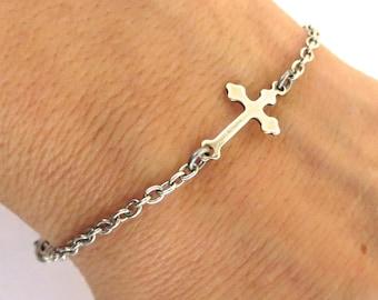 Small Cross Bracelet Sideways Cross Bracelet Sterling Silver Ox Finish