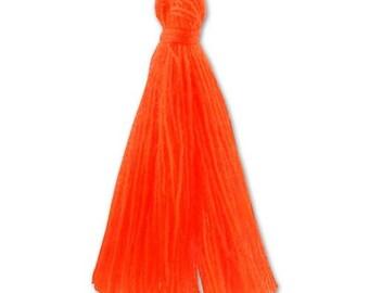 30mm neon ORANGE cotton tassel