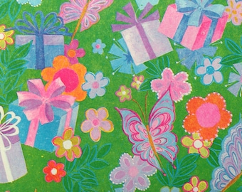 Vintage Gift Wrapping Paper - Flower Power - Birthday Garden with Presents and Butterflies - 1 Unused Full Sheet Birthday Wrapping Paper