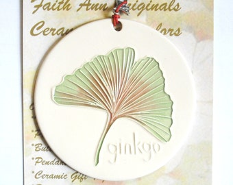 GINKGO LEAF ORNAMENT handmade ceramic ancient longevity symbol tree leaves garden art lover  great hostess visitor collector gift under 25