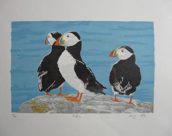 Puffins Original Screenprint